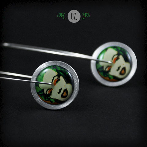 Green,And,Orange,Circles,MM,|,Silver,Earrings,With,Aluminium,,Resin,Silver Earrings With Aluminium, Handmade Jewellery, Silver Jewellery