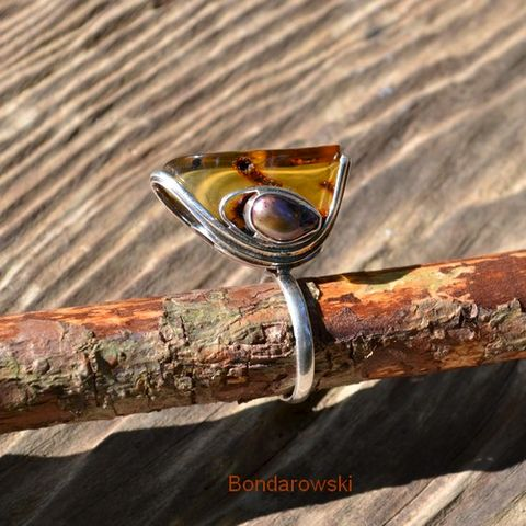 Sterling,Silver,Ring,With,Amber,And,Pearl,Sterling Silver Ring With Amber And Pearl, Silver Jewellery