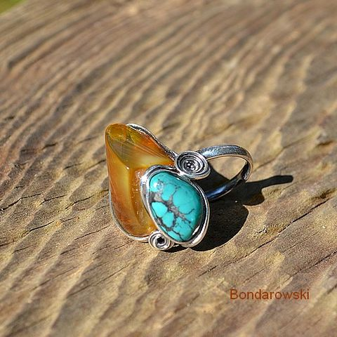 Sterling,Silver,Ring,With,Turquoise,And,Amber,Sterling Silver Ring With Turquoise And Amber, Silver Jewelelry