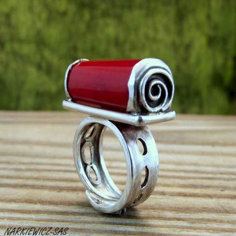 In,Spirals,|,Silver,Ring,With,Coral,In Spirals Silver Ring With Coral, handmade coral jewellery