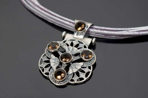Rosette,|,SILVER,Filigree,PENDANT,With,SMOKED,QUARTZ,Silver Filigree Pendant, smoked quartz pendant, bespoke jewellery