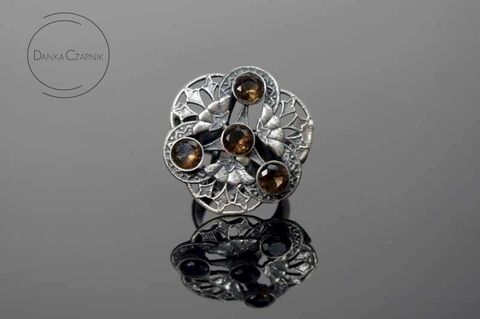 Rosette,|,SILVER,Filigree,RING,With,SMOKED,QUARTZ,Silver Filigree Ring, smoked quartz ring, bespoke jewellery