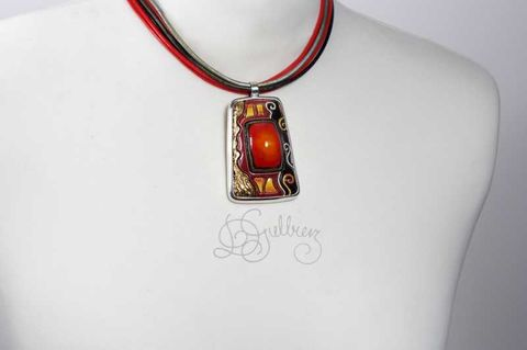 In,red,|,SILVER,PENDANT,With,CERAMIC,Red Ceramic Pendant, silver pendant, handmade bespoke jewellery