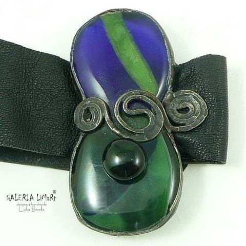 Cobalt,With,Emerald,|,Leather,Bracelet,Stained,Glass,Leather Bracelet With Stained Glass, unique jewellery london
