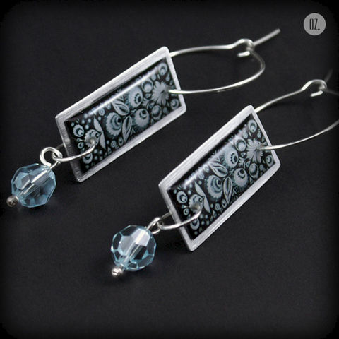 Bona,Light,Cyan,|,Silver,Earrings,With,Resin,,Aluminium,,Swarovski,Crystal,Silver Earrings With Resin And Swarovski Crystal, Silver Jewellery