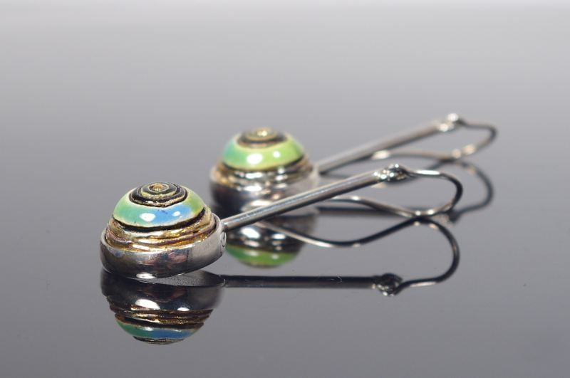 I Feel Green I | GOLD PLATED CERAMIC Long EARRINGS - product images  of