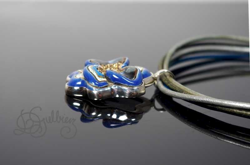 Flower in Blue II | SILVER PENDANT With CERAMIC - product images  of