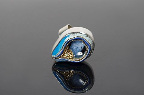 The,Blue,|,SILVER,RING,With,CERAMIC,Silver Ring, ceramic ring, handmade bespoke jewellery