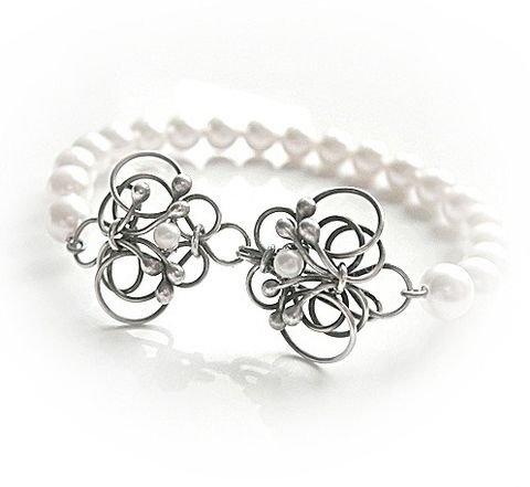 Light,Of,The,Day,|,SILVER,Bracelet,With,Swarovski,Pearls,Silver Bracelet, Swarovski Pearls, bridal Jewellery Store London