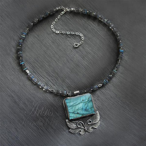 Blue,Window,|,SILVER,NECKLACE,With,LABRADORITE,Silver Necklace with Labradorite, Labradorite Necklace, Silver Jewellery