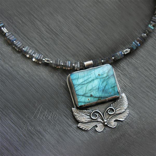 Blue Window | SILVER NECKLACE With LABRADORITE - product images  of