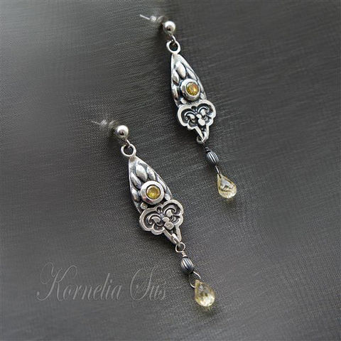 Floral,Nectar,|,SILVER,DANGLE,EARRINGS,With,ZIRCON,&,QUARTZ,Silver Dangle Earrings With Zircon, Silver Jewellery