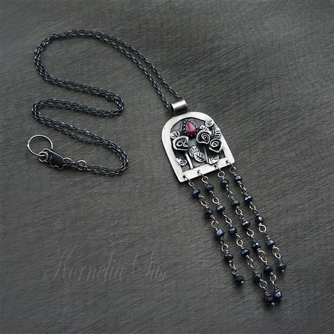 Behind,The,Window,|,SILVER,TASSEL,PENDANT,With,RUBY&,ONYX,Silver Tassel Pendant With Ruby, Onyx Jewellery