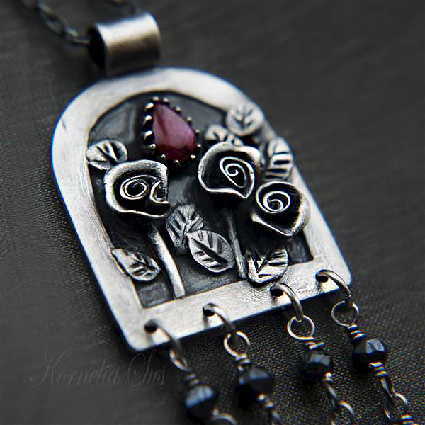 Behind The Window | SILVER TASSEL PENDANT With RUBY& ONYX - product images  of