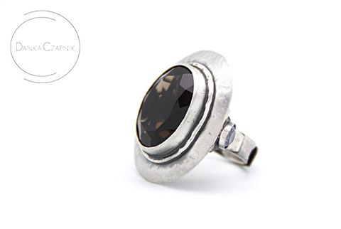 Medea,II,|,SILVER,Ring,With,Smoked,Quartz,&,Citrine,SILVER Ring With Citrine, HANDMADE Jewellery
