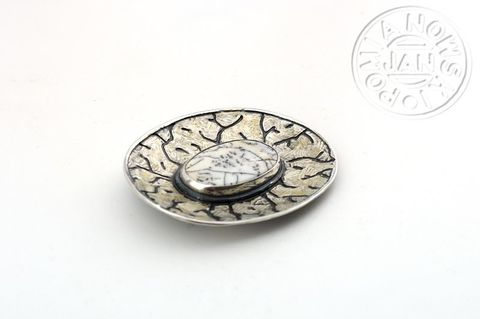 Bari,|,SILVER,Brooch,With,Agate,Silver Brooch With Agate, Silver Jewellery