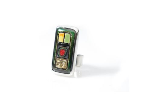 Eureka,|,SILVER,RECTANGULAR,CERAMIC,RING,Silver Rectangular Ring, colourful ceramic ring, handmade bespoke jewellery