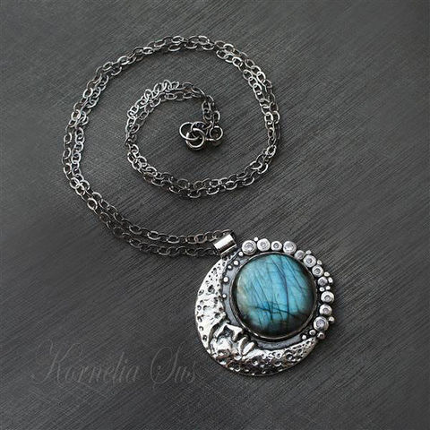 Elements:,Earth,|,SILVER,PENDANT,With,LABRADORITE,&,ZIRCON,Silver Pendant With Labradorite, Handmade Jewellery