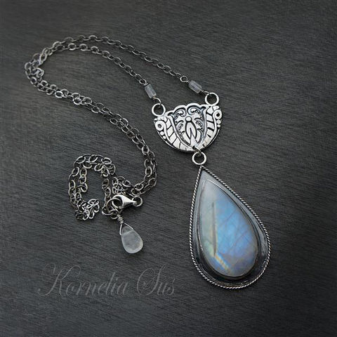 Elements:,Air,|,SILVER,NECKLACE,With,MOONSTONE,Silver Necklace With Moonstone, Sterling Silver Jewellery
