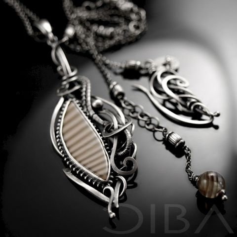 Naelia,|,SILVER,NECKLACE,With,STRIPED,FLINT,,AGATE,Silver Necklace With Striped Flint, Silver Jewellery