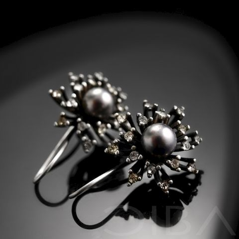 Asidia,|,SILVER,EARRINGS,With,PEARL,&,ZIRCONS,Silver Earrings With Pearl, Unique Jewellery