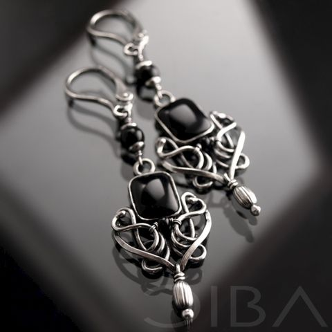 Tiana,|,SILVER,EARRINGS,With,ONYX,Silver Earrings With Onyx, Onyx Jewellery