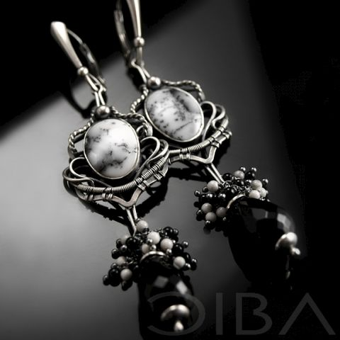 Namaque,|,SILVER,EARRINGS,With,GEMSTONES,Silver Earrings With Dendritic Agate, Silver Jewellery