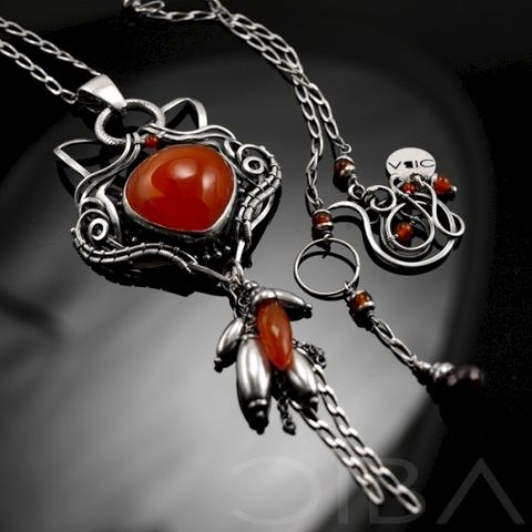 Imaave,|,SILVER,NECKLACE,With,CARNELIAN,,GARNET,Silver Necklace With Carnelian, Garnet Jewellery