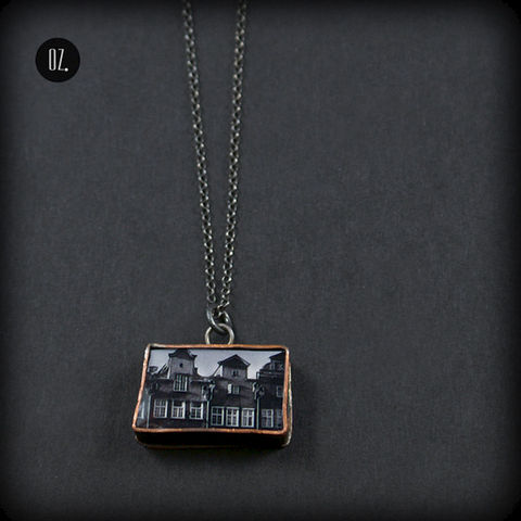 Houses,2,|,SILVER,Pendant,With,Resin,,Copper,Silver Pendant With Resin, Copper Jewellery