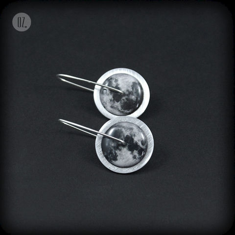Circles,Moon,MINI,|,SILVER,Earrings,With,Aluminium,,Resin,Silver Earrings with Aluminium, Aluminium Jewellery
