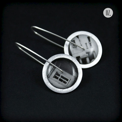 Circles,City,of,Warsaw,XIII,|,SILVER,Earrings,With,Aluminium,,Resin,Silver Earrings with Aluminium, Hand Made Jewellery