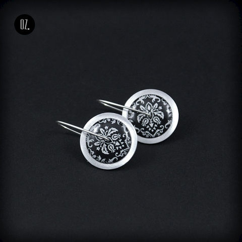 Circles,Black,Victorian,|,SILVER,Earrings,With,Aluminium,,Resin,Silver Earrings With Aluminium, Handmade Jewellery