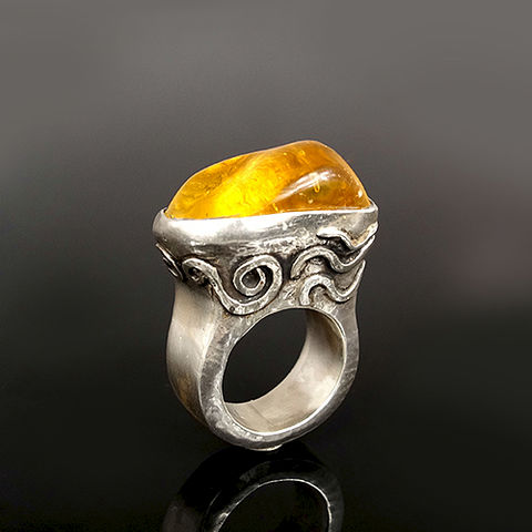 On,The,Sea,|,SILVER,Ring,With,Amber,On The Sea Silver Ring With Amber, amber jewellery online