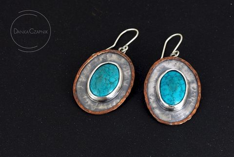 Archea,Ellada,|,SILVER,OVAL,EARRINGS,With,TURQUOISE,Silver Oval Earrings, turquoise earrings, bespoke jewellery