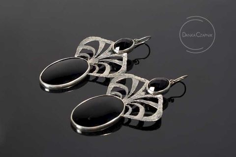 Tango,Milonga,|,SILVER,Earrings,With,Onyx,SILVER Earrings With Onyx, UNIQUE Jewellery