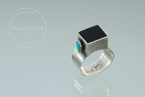 Gareth,|,SILVER,Ring,With,Onyx,,Turquoise,SILVER Ring With Onyx, ONYX Jewellery