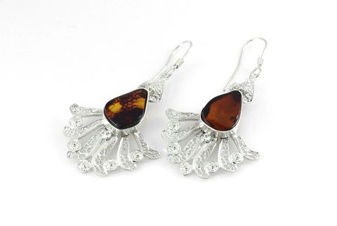 Spanish,Lace,|,SILVER,Earrings,With,Amber,SILVER Earrings With Amber, amber jewelry