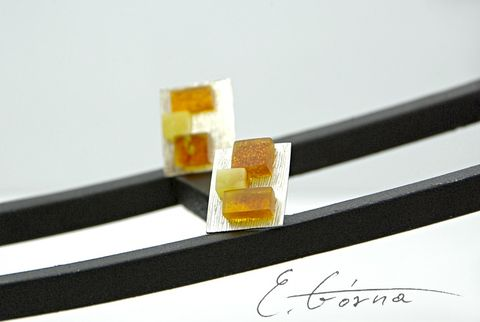 Cube,|,SILVER,Stud,Earrings,With,Amber,SILVER Stud Earrings, unique amber jewellery