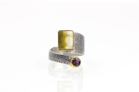 Duet,I,|,SILVER,Ring,With,Amber,And,Garnet,SILVER Ring With Amber, amber jewellery