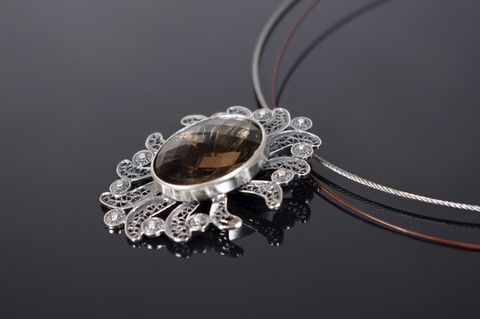 Spanish,Lace,|,SILVER,Pendant,With,Smoked,Quartz,SILVER Pendant With Smoked Quartz, handmade jewellery