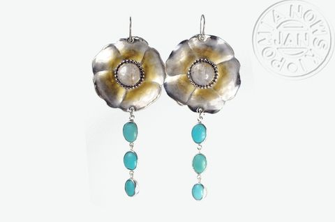 Anemone,|,SILVER,EARRINGS,With,TURQUOISE,&,QUARTZ,SILVER Earrings With Turquoise, flower earrings, bespoke jewellery