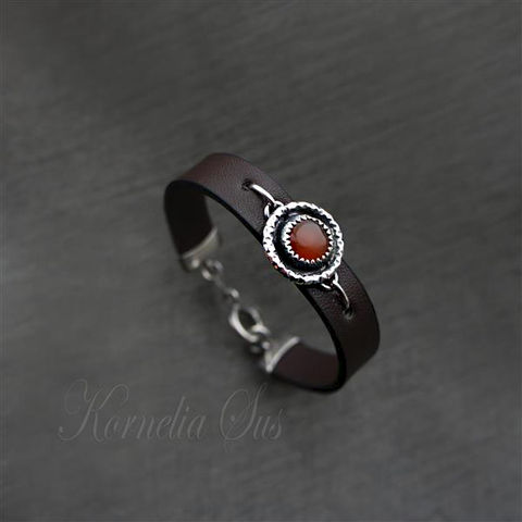 A,Drop,Of,The,Heat,|,LEATHER,Bracelet,With,Silver,And,Carnelian,LEATHER Bracelet With Carnelian, Leather Jewellery