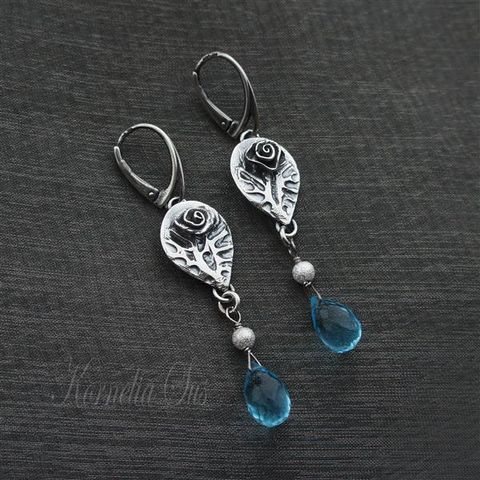 Blue,Roses,|,SILVER,Earrings,With,Quartz,Silver Earrings With Quartz, Handmade Jewellery