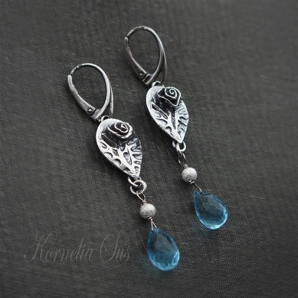 Blue Roses | SILVER Earrings With Quartz - product images  of