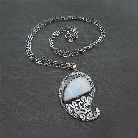 Feather,Of,The,Goose,|,SILVER,Pendant,With,Moonstone,Silver Pendant With Moonstone, Silver Jewellery, Handmade Jewellery