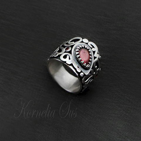 Blackberry,|,SILVER,Ring,With,Tourmaline,,Zircon,SILVER Ring With Tourmaline, UNIQUE Jewellery