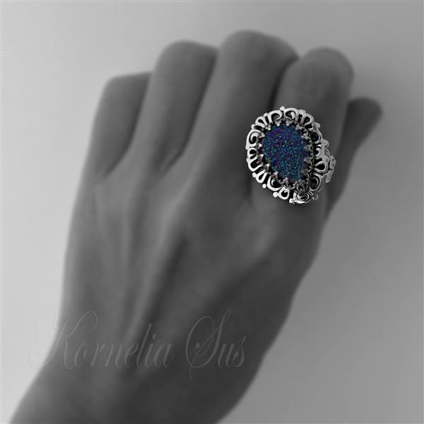Saturn's Ring | SILVER With Agate Druzy - product images  of