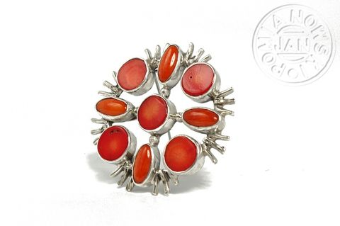 Albertine,|,SILVER,Pin,BROOCH,PENDANT,With,CORAL,Silver Pin Brooch, coral pendant, bespoke silver jewellery