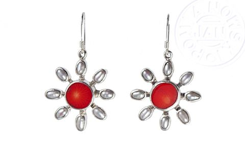 Albertine,|,SILVER,EARRINGS,With,CORAL,&,PEARLS,Silver Earrings With Coral, designer pearl jewellery
