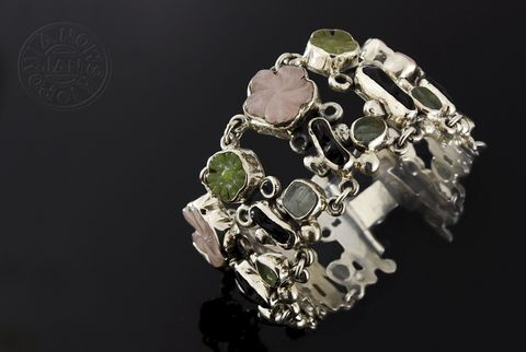 Pranksters,And,Jokers,II,|,SILVER,Bracelet,With,Jade,,Obsidian,,Aquamarine,,Quartz,SILVER Bracelet With Jade, SILVER Jewellery